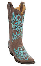 Corral Women's Brown Maddog w/Turquoise Embroidery Snip Toe Western Boots