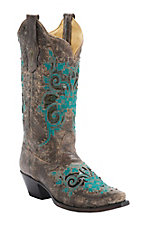 Corral Women's Antiqued Brown w/ Turquoise Embroidery & Bronze Studs Snip Toe Western Boots