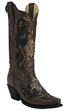 Corral� Women's Bronze/Black w/Cream & Black Embroidery & Studs Snip Toe Western Boots