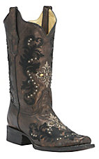 Corral Women's Bronze/Black w/Cream & Black Embroidery & Studs Square Toe Western Boots