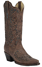 Corral Women's Burnished Brown w/ Blue Mad Dog Goat Inlay Snip Toe Western Boots
