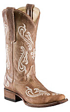 Corral� Ladies Tan Brown Cortez w/ Cream Embroidery Square Toe Western Boots