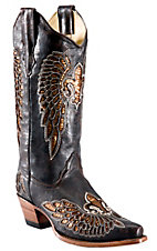 Corral® Ladies Chocolate Brown w/Gold Sequin Inlay Fleur De Lis Snip Toe Western Boot