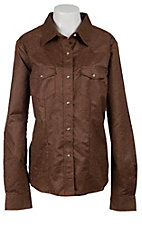 Life Style® Women's Brown Tooled Faux Suede Long Sleeve Western Shirt - Plus Sizes