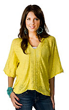 Vintage Havana® Women's Yellow Ripped Knit 3/4 Sleeves Hooded Fashion Top
