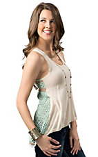 Vintage Havana® Women's Tan, Turquoise and Brown w/ Crochet Back Sleeveless Fashion Top