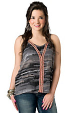 Vintage Havana® Women's Grey and Black with Crochet Trim Sleeveless Fashion Top