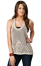 Vintage Havana® Women's Ivory Sweater Knit Racer Back Tank Fashion Top