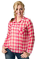 Vintage Havana® Women's White and Pink Check Button Back Long Sleeve Fashion Top