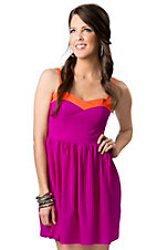 Vintage Havana® Women's Magenta and Neon Orange Sweetheart Sleeveless Dress