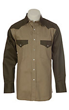 Cowboy Work Wear Olive and Khaki 2 Tone Snap Work Shirt