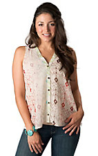 Vintage Havana® Women's Cream with Multi-Colored Aztec Print and Buttons Sleeveless Tank Top