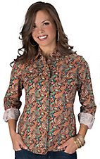 Wired Heart® Women's Maroon with Multicolor Paisley Print Long Sleeve Western Shirt