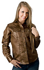 Life Style® Women's Brown Faux Gator Long Sleeve Western Shirt