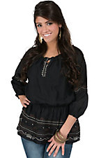 Life Style Women's Black with Embroidery 3/4 Sleeve Peasant Top