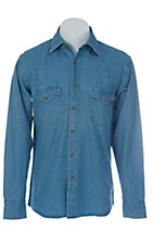 Texas Dry Goods® Mens Light Blue Denim Button Up L/S Western Work Shirt