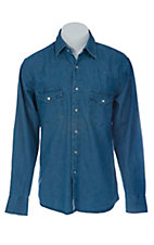 Texas Dry Goods® Mens Dark Blue Denim Snap L/S Western Work Shirt