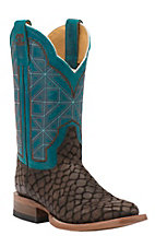 Cinch Women's Brown Puzzle with Rice Turquoise Top Square Toe Western Boots