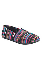 Corky's Sues Women's Black with Multicolor Sarape Stripes Canvas Shoe