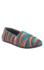 Corky's Sues Women's Turquoise Multicolor Swirl Burlap Canvas Shoe
