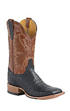 Cinch Men's Black Caiman with Moody Tan Goat Upper Exotic Square Toe Western Boots