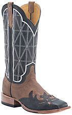 Cinch® Men's Crazy Beige Goat with Black Wingtip & Mad Dog Black Goat Upper Square Toe Western Boots