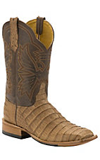 Cinch® Men's Soft Brown Caiman with Mad Dog Chocolate Goat Upper Exotic Square Toe Western Boots