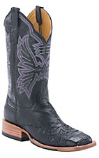 Cinch Women's Mica Black with Black Caiman Wingtip & Moody Purple Stitch on Upper Exotic Square Toe Western Boots