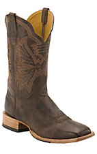 Cinch® Women's Black Caiman with Moody Tan Goat Upper Exotic Square Toe Western Boots