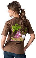 Cowgirls Unlimited® Ladies Brown Barrelicious Short Sleeve Tee