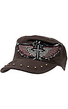 Rock & Roll Cowgirl® Brown w/ Black & Red Embroidered Winged Cross w/ Crystals Military Style Cap