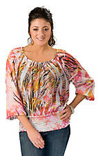 R.Rouge® Women's Pink & Yellow Zebra Chiffon Long Sleeve Fashion Top