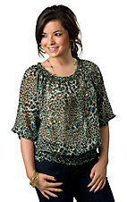 Cowgirl Justice® Women's Light Mint with Turquoise and Brown Leopard Print Chiffon 3/4 Sleeve Fashion Top