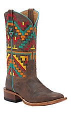 Johnny Ringo Women's Crystal Brown Aztec Kaleidoscope Embroidered Top Square Toe Western Boots