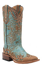 Johnny Ringo Women's Fango Aqua with Crazy Honey Wingtip Square Toe Western Boots