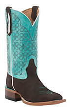 Johnny Ringo Women's Fleet Dark Brown with Turquoise Top Square Toe Western Boots