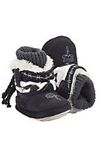Montana Silversmiths® Cowboy Kickers™ Baby Black & White Cowprint Cowboy Boot Slippers