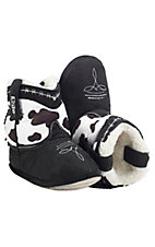 Montana Silversmiths® Cowboy Kickers™ Toddler Black & White Cowprint Cowboy Boot Slippers