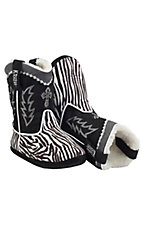 Montana Silversmiths® Cowboy Kickers™ Adult Black & White Zebra Cowboy Boot Slippers