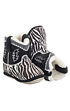 Montana Silversmiths® Cowboy Kickers™ Toddler Black & White Zebra Cowboy Boot Slippers