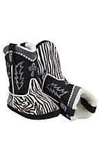 Montana Silversmiths® Cowboy Kickers™ Youth Black & White Zebra Cowboy Boot Slippers