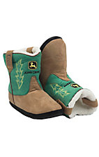 Montana Silversmiths® Cowboy Kickers™ Youth John Deere Brown w/ Green Cowboy Boot Slippers
