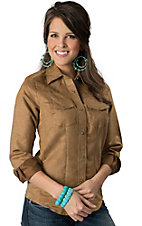 Wired Heart® Women's Tan Solid Suede Long Sleeve Western Shirt