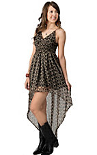 Ocean Drive® Women's Black and Tan Print Chiffon High-Low Cami Dress
