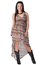 Ocean Drive® Women's Brown Misoni Print Chiffon High-Low Cami Dress
