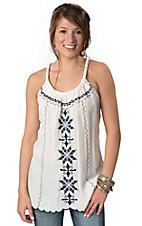Ocean Drive® Women's White Linen with Navy Embroidery and Rope Straps Sleeveless Fashion Top
