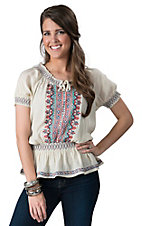 Vintage Havana Women's Tan with Multicolor Embroidery Short Sleeve Peasant Top