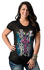 Rebel Rose® Junior's Black with Pink, Turquoise and Lime Crosses Burnout Short Sleeve Tee