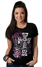 Rebel Rose® Juniors Black Faith Zebra Cross Graphic Short Sleeve Tee