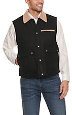 Cripple Creek Men's Black with Tan Microsuede Trim Wool Vest